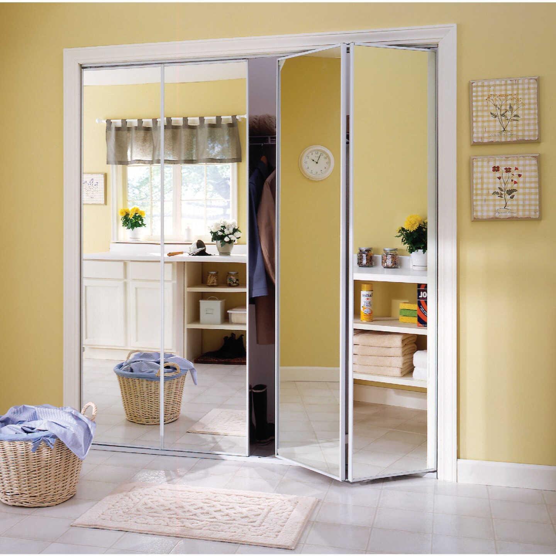 Erias Series 4400 30 In. W. x 80-1/2 In. H. Steel Frame Mirrored White Bifold Door Image 1