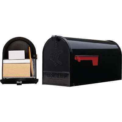 Gibraltar Elite T2 Large Black Steel Rural Post Mount Mailbox