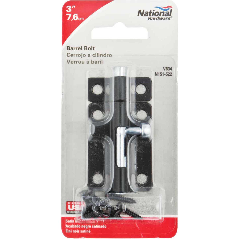 National 3 In. Black Steel Door Barrel Bolt Image 2