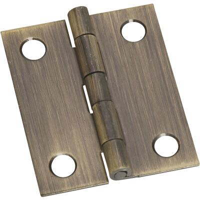 National 1-1/4 In. x 1-1/2 In. Antique Brass Hinge (2-Pack)