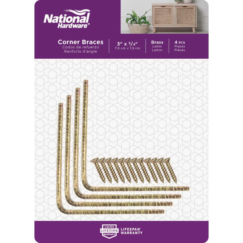 National Catalog V115 3 In. x 3/4 In. Brass Steel Corner Brace (4-Count) Image 2