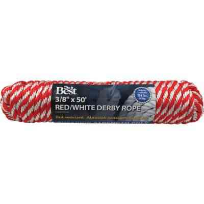 Do it 3/8 In. x 50 Ft. Red & White Derby Polypropylene Packaged Rope