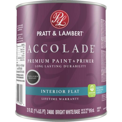Pratt & Lambert Accolade Premium 100% Acrylic Paint & Primer Flat Interior Wall Paint, Bright White Base, 1 Qt.