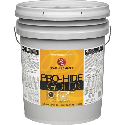 Pratt & Lambert Pro-Hide Gold Ultra Latex Flat Interior Wall Paint, Super-One Coat White, 5 Gal.