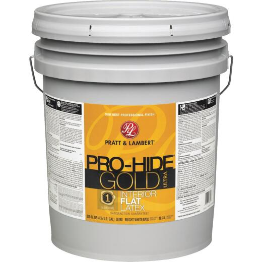 Pratt & Lambert Pro-Hide Gold Ultra Latex Flat Interior Wall Paint, Bright White Base, 5 Gal.