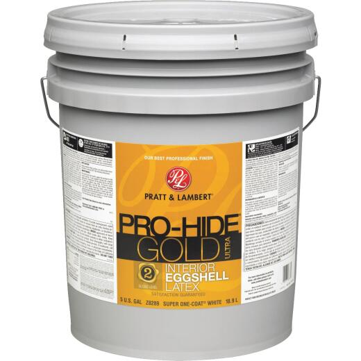Pratt & Lambert Pro-Hide Gold Ultra Latex Eggshell Interior Wall Paint, Super One-Coat White, 5 Gal.