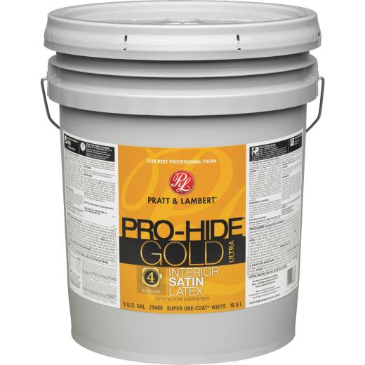 Pratt & Lambert Pro-Hide Gold Ultra Latex Satin Interior Wall Paint, Super One-Coat White, 5 Gal.