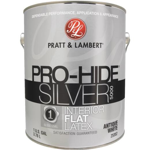Pratt & Lambert Pro-Hide Silver 5000 Latex Flat Interior Wall Paint, Antique White, 1 Gal.