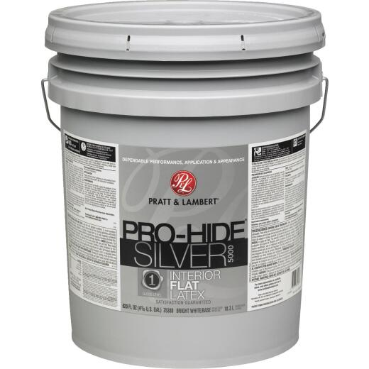 Pratt & Lambert Pro-Hide Silver 5000 Latex Flat Interior Wall Paint, Bright White Base, 5 Gal.
