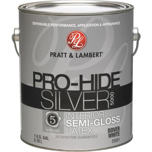 Pratt & Lambert Pro-Hide Silver 5000 Latex Semi-Gloss Interior Wall Paint, Dover White, 1 Gal.