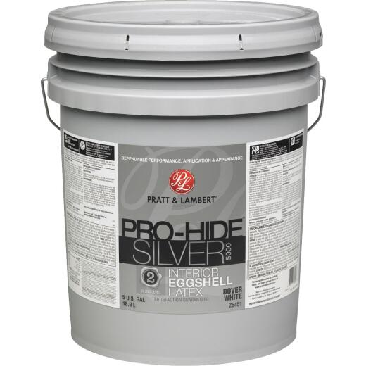Pratt & Lambert Pro-Hide Silver 5000 Latex Eggshell Interior Wall Paint, Dover White, 5 Gal.