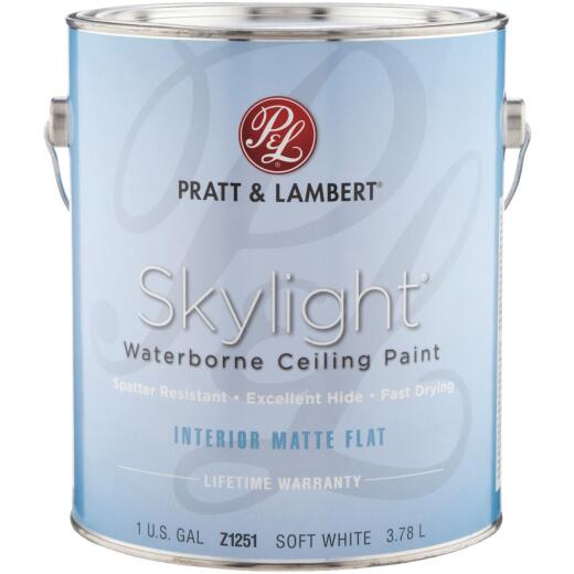 Pratt & Lambert Skylight Latex Matte Flat Ceiling Paint, Soft White, 1 Gal.